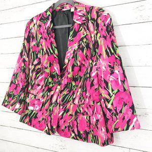 Kim Rogers Pink Floral Blazer - Size Large